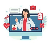 Online medical advice or consultation service with patient and female doctor on computer screen