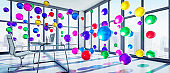 Meeting Room with floating Colorful Spheres