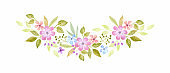 Floral arrangement with spring flowers. Watercolor hand painted illustration isolated on a white background.