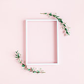 Flowers composition. Photo frame, eucalyptus leaves on pink background. Spring concept. Flat lay, top view, copy space, square