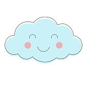 Smiling cloud vector pattern. Cute sky seamless background. Hand drawn illustration for babies, kids