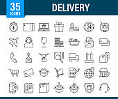 Set with delivery icon. Delivery service. Fast courier. Truck icon set. Vector stock illustration.