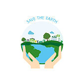 World environment day concept.Hand holding earth.vector illustration