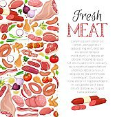 Vector page decoration meat products with vegetables design with lettering for product store menu