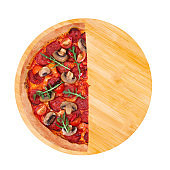 A half of tasty pizza hot with spicy salami, arugula, cherry tomatoes, mushrooms and texas spice mix, on a wooden platter, isolated on white, top view