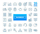 Global network connection. Business line icon set. Marketing network. Money line icon set. Vector stock illustration.