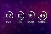 Vector countdown clock counter timer. UI app digital count down circle board meter with circle time pie diagram. Scoreboard of day, hour, minutes and seconds for web page coming soon event template.