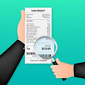 Receipt icon with magnifying glass. Studying paying bill. Payment of goods,service, utility, bank, restaurant. Vector stock illustration.
