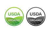 USDA organic emblems, badge, Sticker, logo icon Vector stock illustration