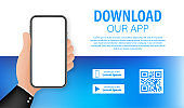 Download page of the mobile app. Empty screen smartphone for you app. Download app. Vector stock illustration