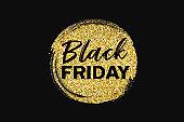 Black friday sale gold foil circle brush storke, concept design on black background