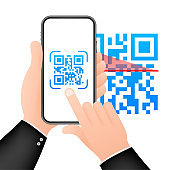 Scan QR code to Mobile Phone. Electronic, digital technology, barcode. Vector stock illustration.