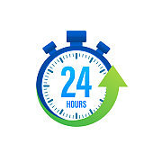 24 hour on blue clock. Online delivery service concept. Service center symbol. Watch, time icon. Vector stock illustration.