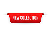 New collection ribbon on red background. Sale banner badge. Banner template. Sale, discount. Vector stock illustration.