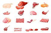 Meat products flat vector illustrations set, isolated on white background for butcher shop