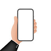 Smartphone on hand. Telephone icon. Touchscreen, Phone display. Cell phone vector icon. Flat graphic design. Vector stock illustration.