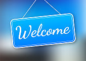 Welcome hanging sign on white background. Sign for door. Vector stock illustration.