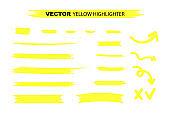Yellow Highlighter Marker Strokes. Yellow watercolor hand drawn highlight set. Vector stock illustration.