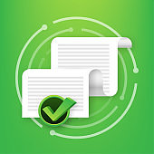 Documents icon. Stack of paper sheets. Confirmed or approved document. Vector stock illustration.