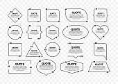 Set Quote frames. Blank template with print information design quotes. Blank template quote. Vector stock illustration.