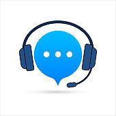 Online support service. Headphones with microphone and chat speech bubble. Vector stock illustration.