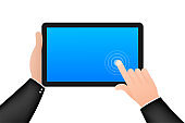 Screen computer monitor. Digital communication. Hand touch screen smartphone icon. Hand click icon. Vector stock illustration.