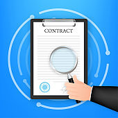 Hand checking contract with a magnifying glass before signing. Vector stock illustration.