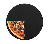 A quarter of delicious pizza with cherry tomatoes, spinach, mozzarella, feta, kalamata olive and mushrooms on black slate plate, isolated on white background, top view