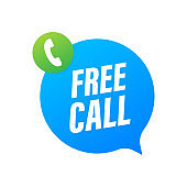 Free call. Information technology. Telephone icon. Customer service. Vector stock illustration.