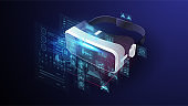 VR devices, virtual glasses, virtual reality goggles, device for playing electronic video games in digital cyber space. Futuristic poster with HUD elements.