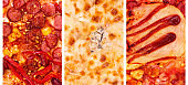 Collage of three kinds italian pizzas. Pizza Mexico, quattro formaggi and BBQ. Food banner, pizza backgrounds, macro photo