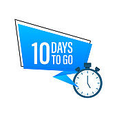 Ten days to go flat icon. Vector stock illustration.
