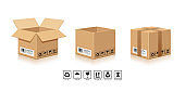 Packaging Brown Box,with symbol collections isolated on white background