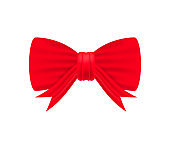 Shiny red satin ribbon on white background. Vector stock illustration.