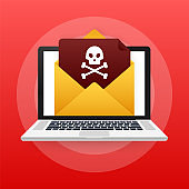 Red email virus. Computer screen. virus, piracy, hacking and security, protection. Vector stock illustration.
