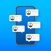Review rating bubble speeches on mobile phone illustration, flat style smartphone reviews stars with good and bad rate and text. Vector Vector stock illustration.