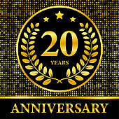 20th Anniversary celebration. Celebration 20th anniversary event party template. Vector stock illustration.