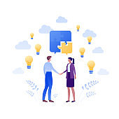 Business teamwork success concept. Vector flat people illustration. Male and female employee handshake. Puzzle and lightbulb sign. Design element for banner, poster, background.
