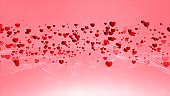 Red heart flying, Romantic background for wedding, Valentine's Day, Mother's Day, wedding anniversary greeting cards, wedding invitation,  background