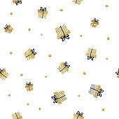 White and gold seamless gift pattern. Giveaway holidays repeated pattern, present boxes illustration. Abstract wallpaper, wrapping paper print