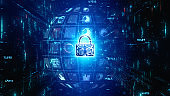 Lock Icon Cyber Security with particles flow, Digital Data Network Protection, Future Technology Network Background Concept.