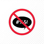 Vector color bad speech language icon illustration. Red crossed out talk bubble stop sign with censored text isolated on transparent background. Design element for hate banner, poster, web, meme,