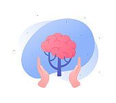 Psychology, emotion and psychotherapy concept. Vector flat illustration. Mental health treatment metaphore. Human hand hold human tree with brain symbol. Design for banner, web, logo.