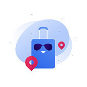 Travel around world concept. Vector flat character illustration. Tourist bag with smile in glasses with pin sign. Design element for banner, background, sketch, art.