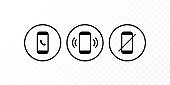 Communication concept. Vector flat outline icon set illustration. Black and white on transparent background. Smart phone call sign in circle. Design element for web, ui, button, website, logo.