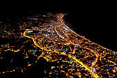 Arial view night city lights city of Turkey