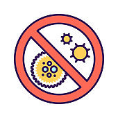 Stop coronavirus color line icon. Coronavirus danger and public health risk disease and flu outbreak. Pictogram for web page, mobile app, promo. UI UX GUI design element.