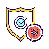 Medical prevention human germ black line icon. Shield protects against bacteria. Immune system. Healthcare. Pictogram for web page, mobile app, promo. UI UX GUI design element.