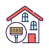 Home disinfection line color icon. Virus protection. Cleaning service. Outline pictogram for web page, mobile app, promo.