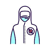 Doctor or worker in medical protective suit color line icon. Coronavirus pandemic COVID-19. Protect from viruses. Pictogram for web page, mobile app, promo. UI UX GUI design element.